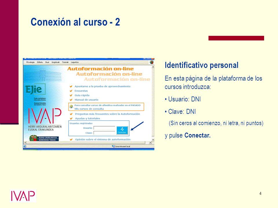 4 Conexión al curso - 2 Identificativo personal En esta página de la plataforma de los cursos introduzca: Usuario: DNI Clave: DNI (Sin ceros al comienzo, ni letra, ni puntos) y pulse Conectar.