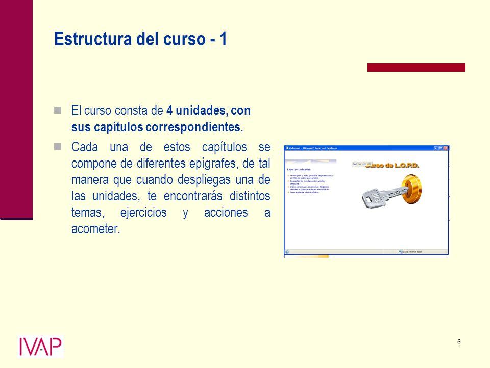 6 Estructura del curso - 1 El curso consta de 4 unidades, con sus capítulos correspondientes.