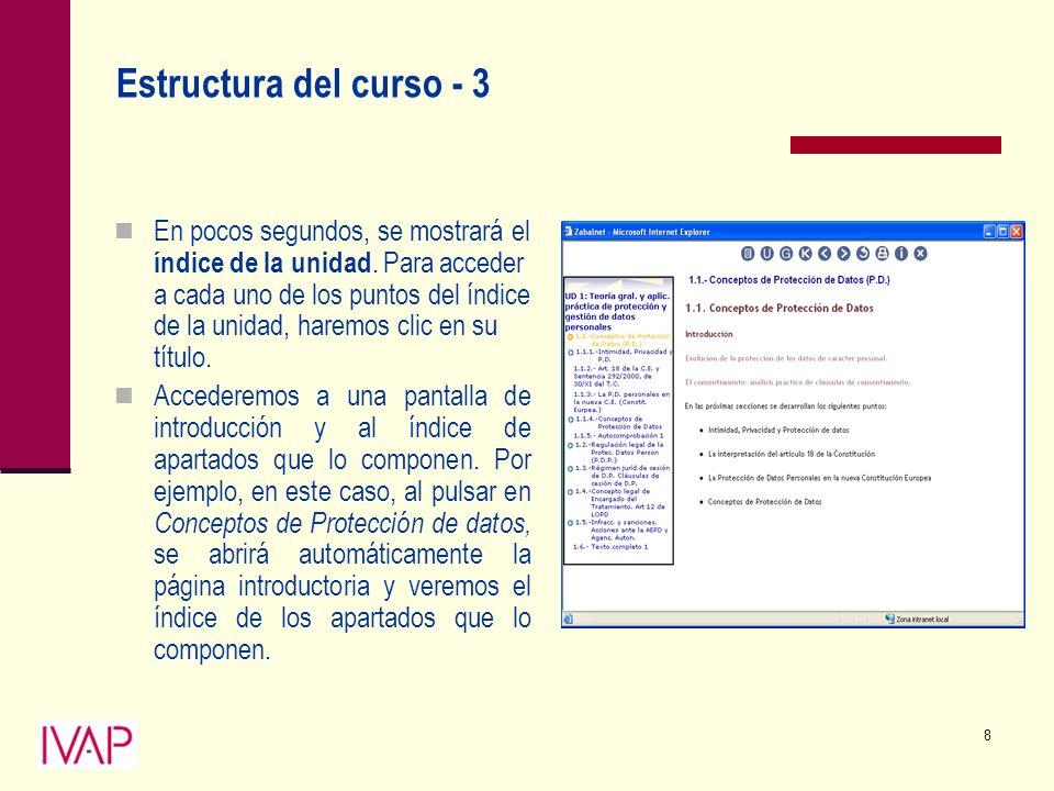 8 Estructura del curso - 3 En pocos segundos, se mostrará el índice de la unidad.