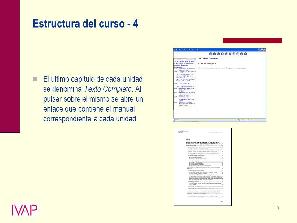 9 Estructura del curso - 4 El último capítulo de cada unidad se denomina Texto Completo.