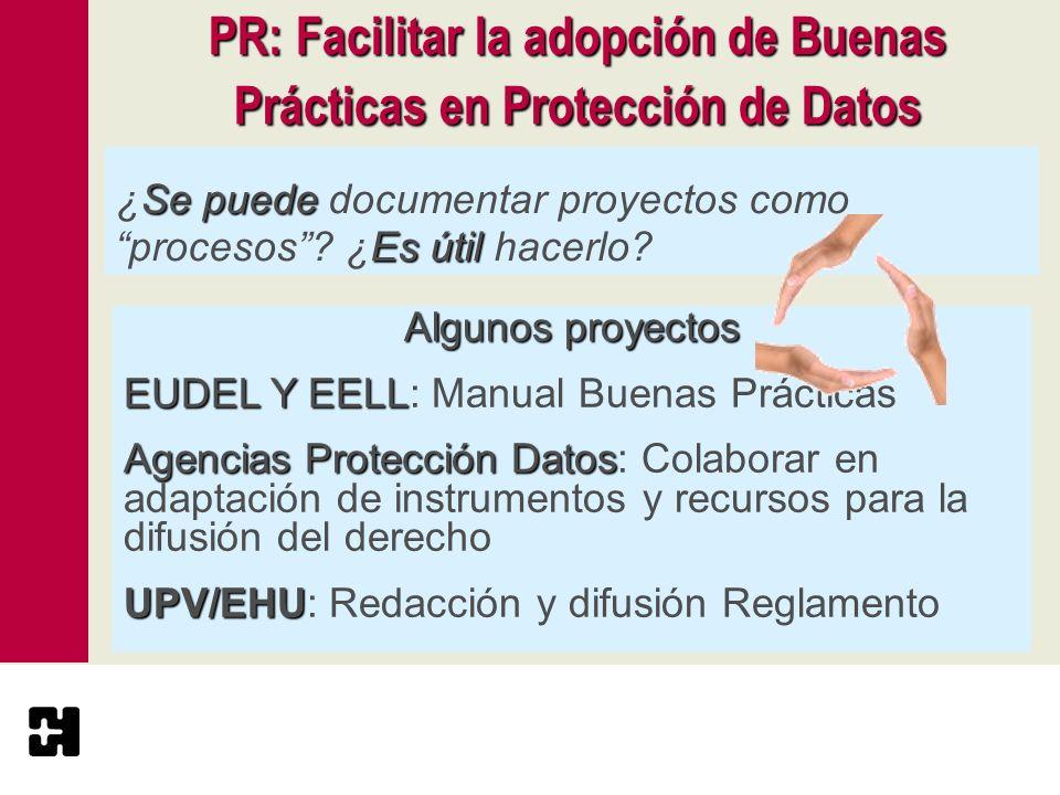 PR: Facilitar la adopción de Buenas Prácticas en Protección de Datos Se puede Es útil ¿Se puede documentar proyectos como procesos? ¿Es útil hacerlo?