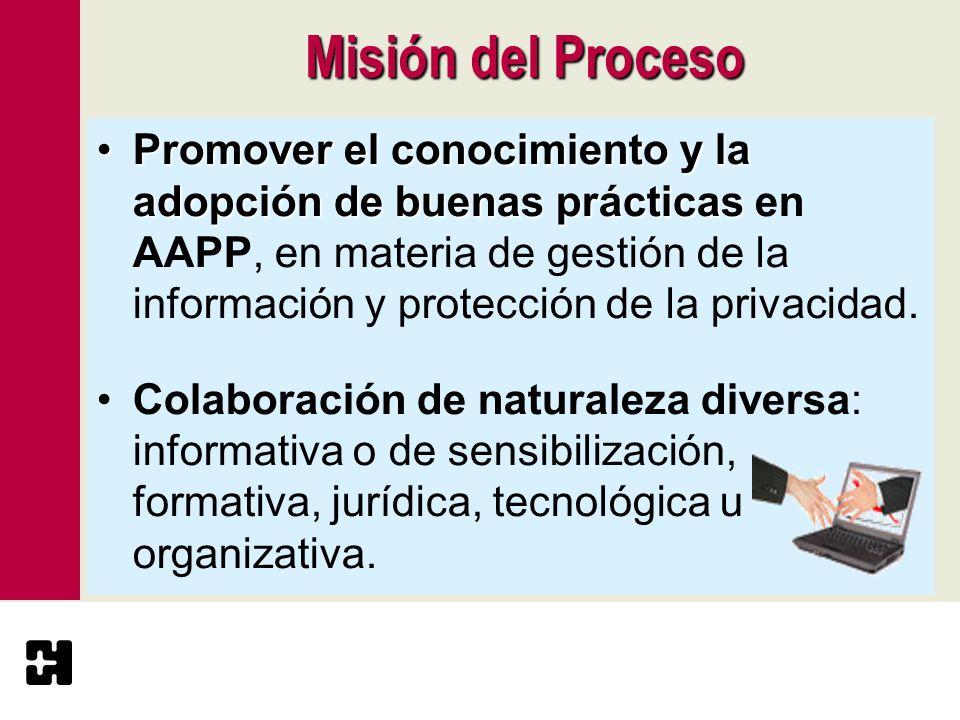 Misión del Proceso Promover el conocimiento y la adopción de buenas prácticasPromover el conocimiento y la adopción de buenas prácticas en AAPP, en ma