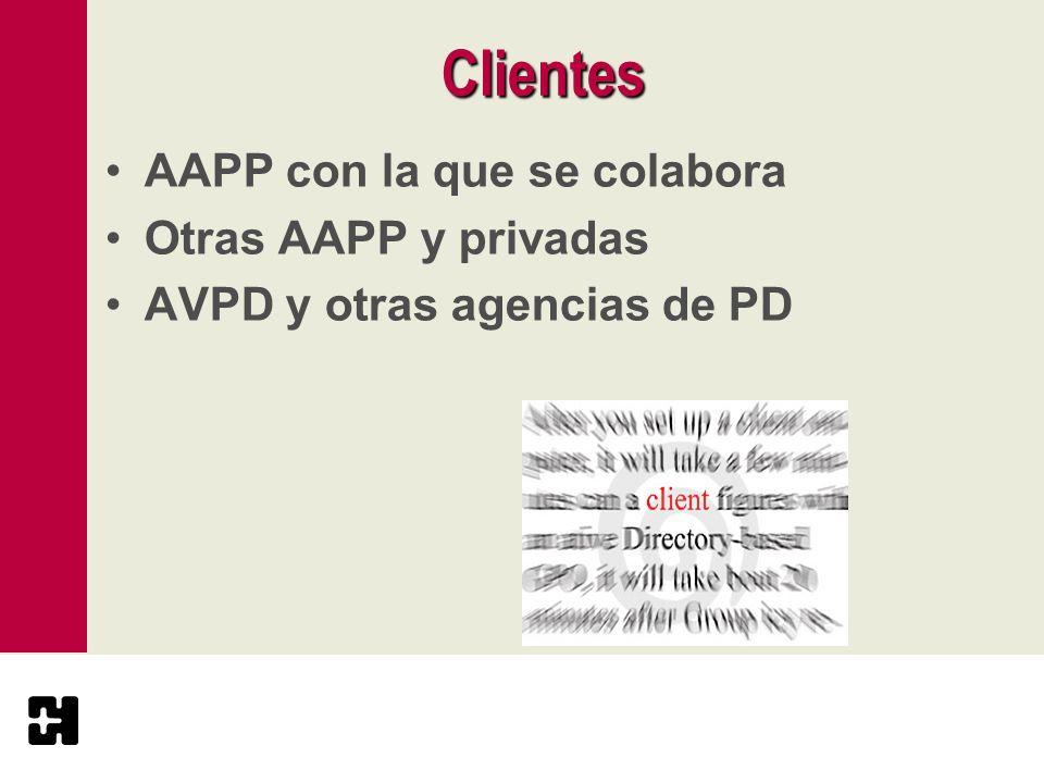 Clientes AAPP con la que se colabora Otras AAPP y privadas AVPD y otras agencias de PD