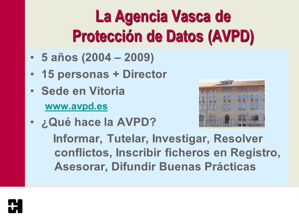La Agencia Vasca de Protección de Datos(AVPD) La Agencia Vasca de Protección de Datos (AVPD) 5 años (2004 – 2009) 15 personas + Director Sede en Vitor