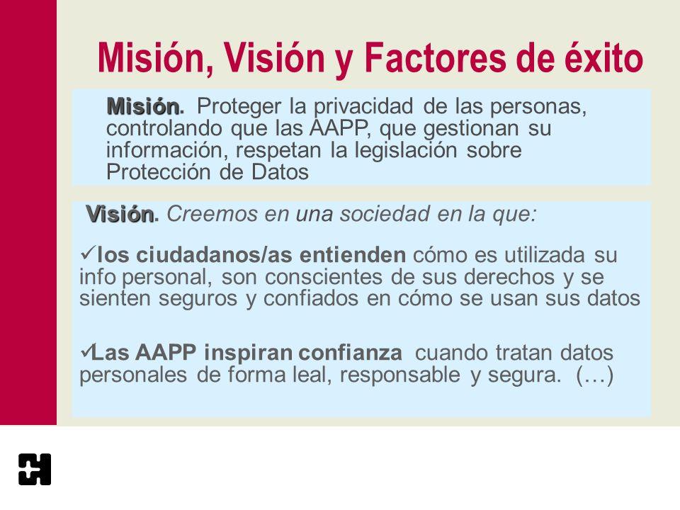 Misión, Visión y Factores de éxito Misión Misión. Proteger la privacidad de las personas, controlando que las AAPP, que gestionan su información, resp
