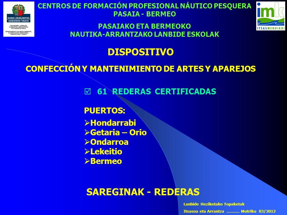 CENTROS DE FORMACIÓN PROFESIONAL NÁUTICO PESQUERA PASAIA - BERMEO PASAIAKO ETA BERMEOKO NAUTIKA-ARRANTZAKO LANBIDE ESKOLAK SAREGINAK - REDERAS 61 REDE
