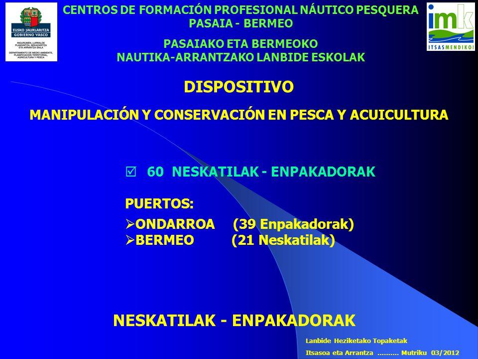 CENTROS DE FORMACIÓN PROFESIONAL NÁUTICO PESQUERA PASAIA - BERMEO PASAIAKO ETA BERMEOKO NAUTIKA-ARRANTZAKO LANBIDE ESKOLAK 60 NESKATILAK - ENPAKADORAK