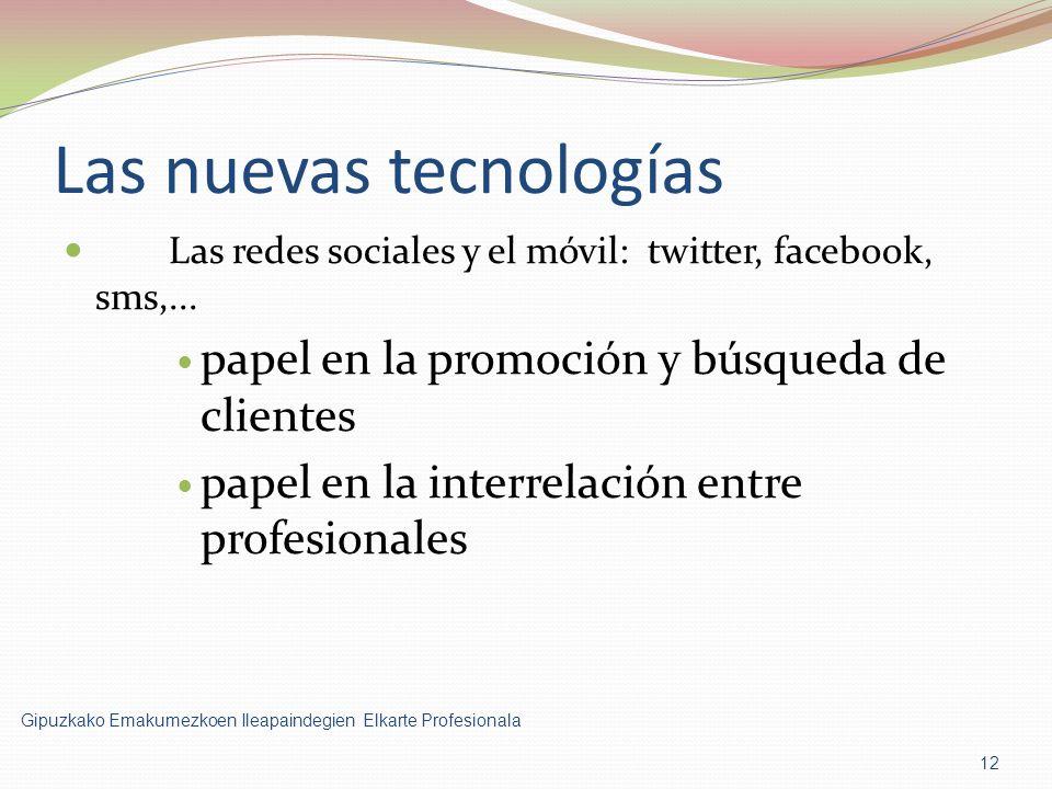 Las nuevas tecnologías Las redes sociales y el móvil: twitter, facebook, sms,...