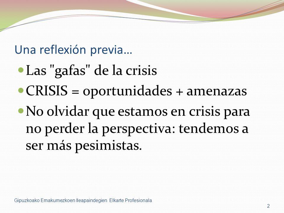 Una reflexión previa… Las gafas de la crisis CRISIS = oportunidades + amenazas No olvidar que estamos en crisis para no perder la perspectiva: tendemos a ser más pesimistas.