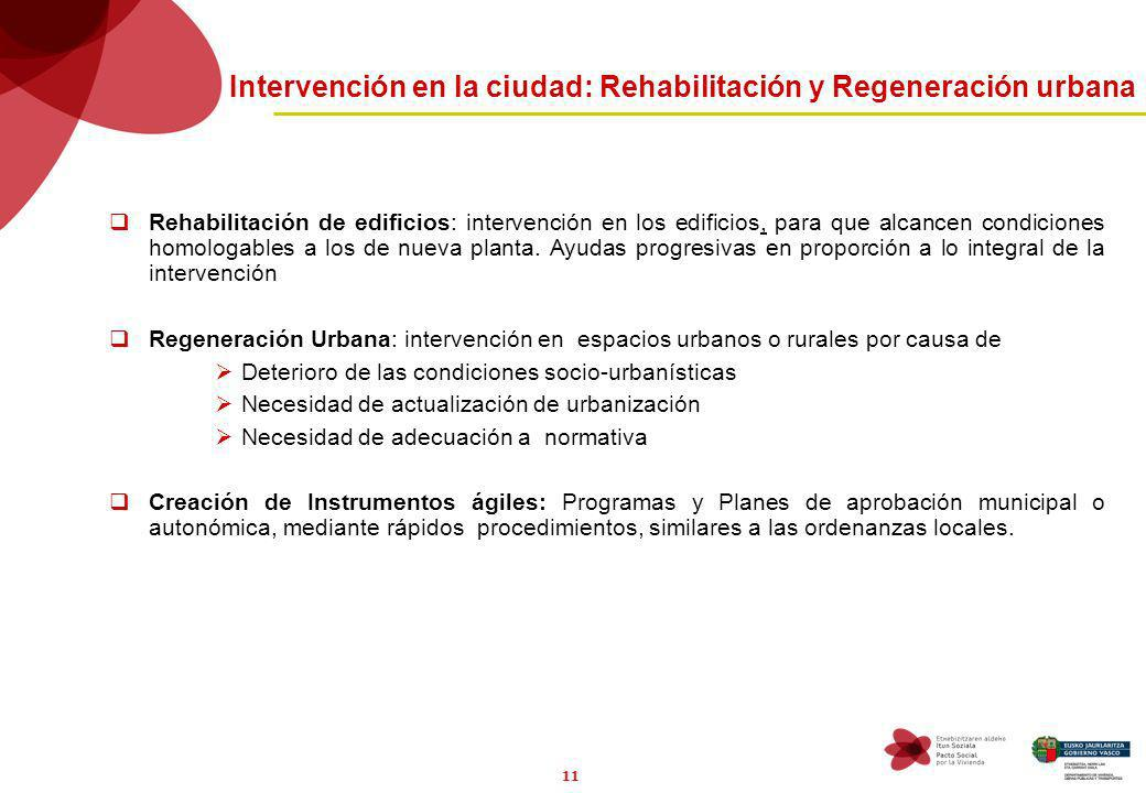 11 Intervención en la ciudad: Rehabilitación y Regeneración urbana Rehabilitación de edificios: intervención en los edificios, para que alcancen condiciones homologables a los de nueva planta.