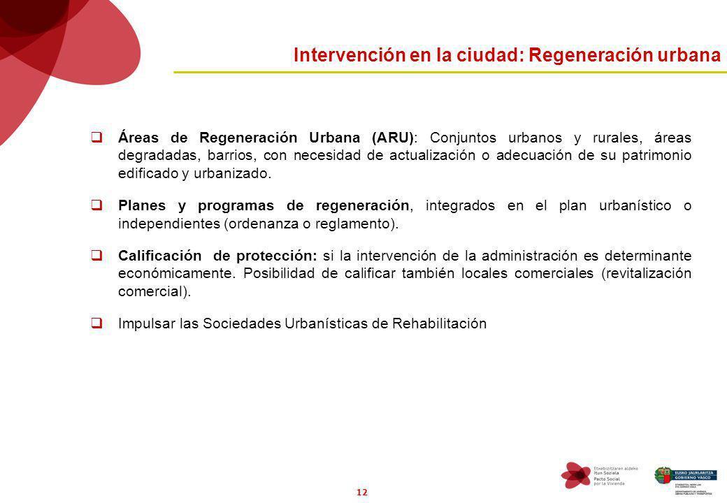 12 Intervención en la ciudad: Regeneración urbana Áreas de Regeneración Urbana (ARU): Conjuntos urbanos y rurales, áreas degradadas, barrios, con necesidad de actualización o adecuación de su patrimonio edificado y urbanizado.