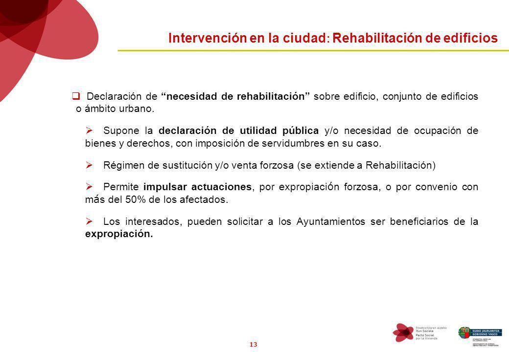13 Intervención en la ciudad : Rehabilitación de edificios Declaración de necesidad de rehabilitación sobre edificio, conjunto de edificios o ámbito urbano.