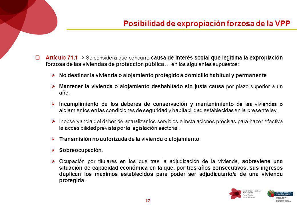17 Artículo 71.1 Se considera que concurre causa de interés social que legitima la expropiación forzosa de las viviendas de protección pública … en lo