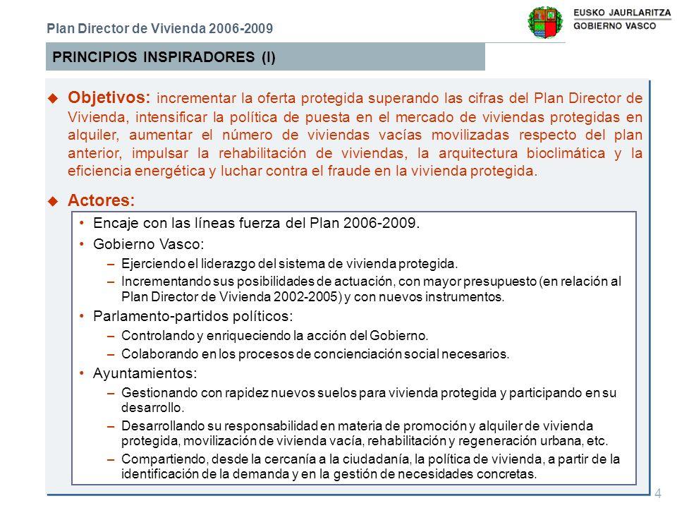 15 EJE 3:Corresponsabilidad y cooperación entre todos los agentes promotores de vivienda protegida EJES ESTRATÉGICOS DEL PLAN DE VIVIENDA Plan Director de Vivienda 2006-2009 u Objetivos Generales u Líneas Estratégicas Procurar que todos los agentes con responsabilidad en materia de vivienda protegida, en especial los Ayuntamientos, participen activamente en la consecución de los objetivos del Plan Director de Vivienda 2006- 2009, de forma que se pueda proporcionar una respuesta satisfactoria a las necesidades de vivienda de la ciudadanía.