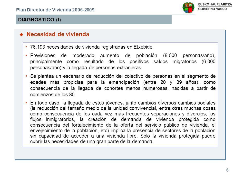 7 DIAGNÓSTICO (II) Plan Director de Vivienda 2006-2009 Entre 2002 y 2005 se ha intensificado notablemente la edificación de vivienda protegida (20.730 viviendas protegidas frente a 13.599 del periodo 98-01), y la edificación de vivienda libre continúa a buen ritmo.