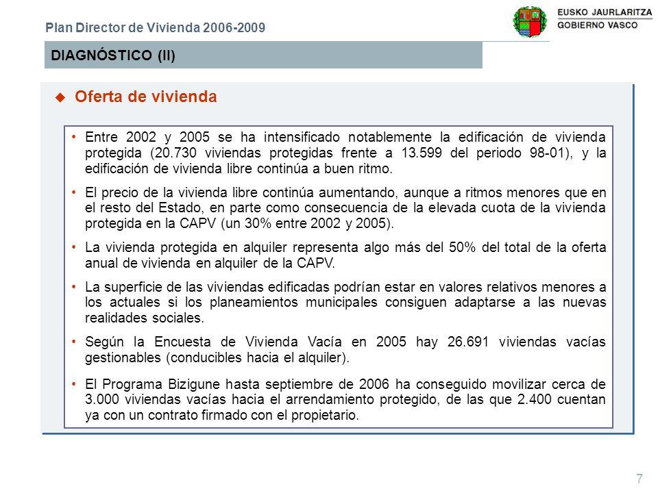 8 DIAGNÓSTICO (III) Plan Director de Vivienda 2006-2009 La situación se caracteriza por una relativa escasez de suelos disponibles para su edificación.