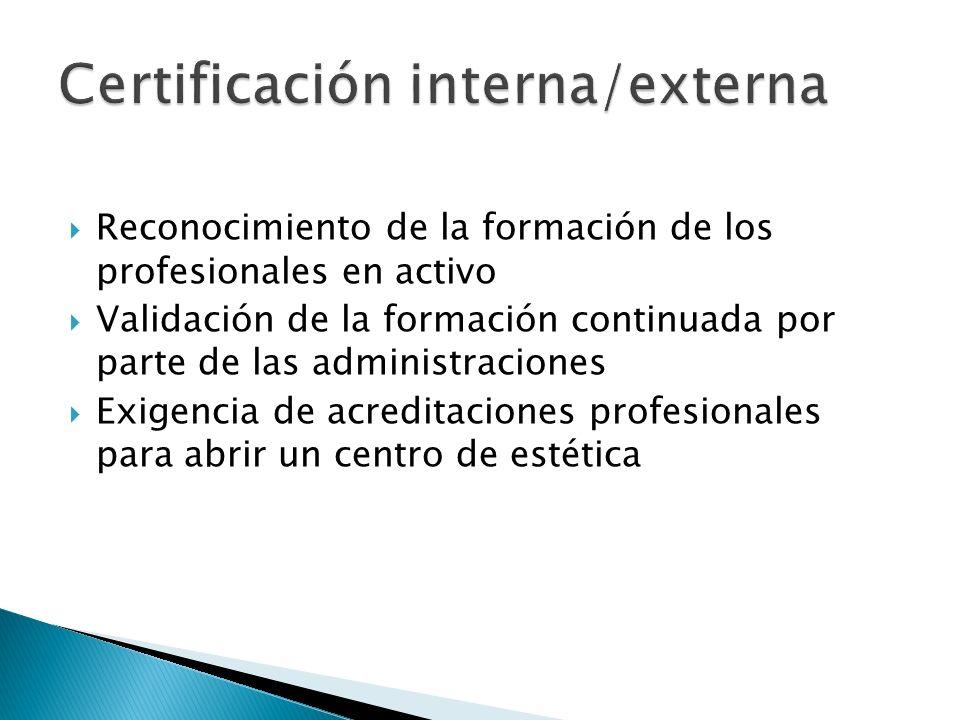 Reconocimiento de la formación de los profesionales en activo Validación de la formación continuada por parte de las administraciones Exigencia de acreditaciones profesionales para abrir un centro de estética