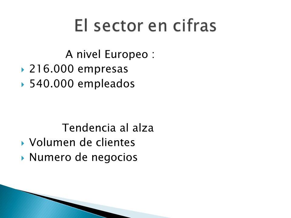 A nivel Europeo : 216.000 empresas 540.000 empleados Tendencia al alza Volumen de clientes Numero de negocios