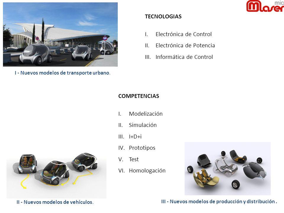 II - Nuevos modelos de vehículos. I - Nuevos modelos de transporte urbano. III - Nuevos modelos de producción y distribución. TECNOLOGIAS I.Electrónic