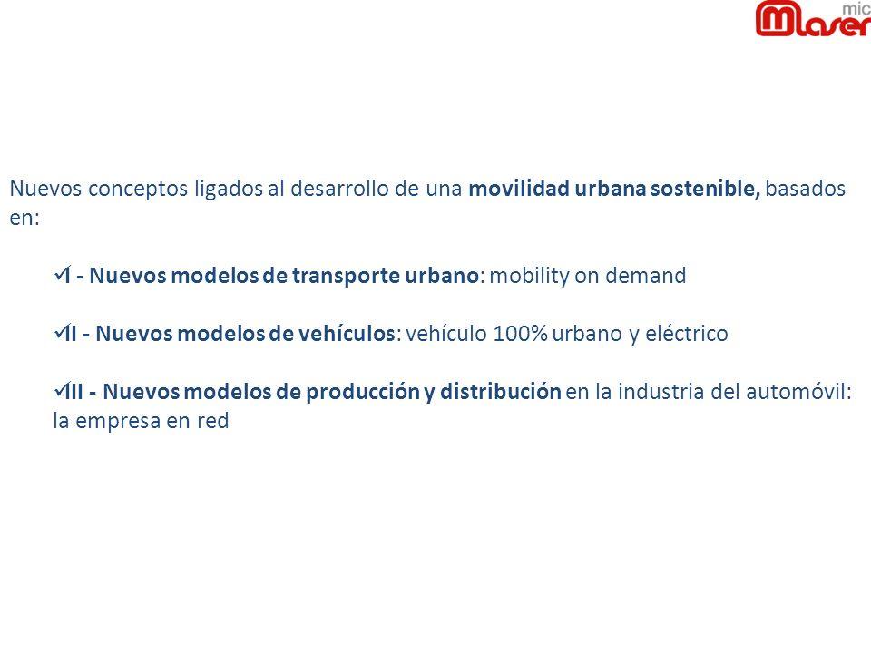Nuevos conceptos ligados al desarrollo de una movilidad urbana sostenible, basados en: I - Nuevos modelos de transporte urbano: mobility on demand II - Nuevos modelos de vehículos: vehículo 100% urbano y eléctrico III - Nuevos modelos de producción y distribución en la industria del automóvil: la empresa en red