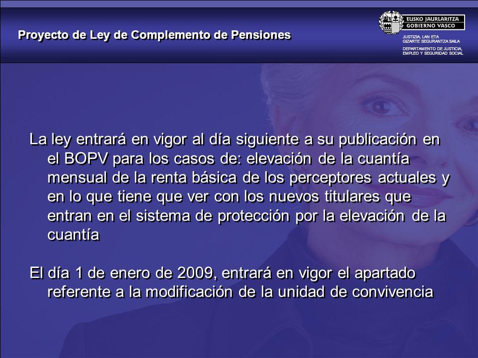 Proyecto de Ley de Complemento de Pensiones JUSTIZIA, LAN ETA GIZARTE SEGURANTZA SAILA DEPARTAMENTO DE JUSTICIA, EMPLEO Y SEGURIDAD SOCIAL La ley entr