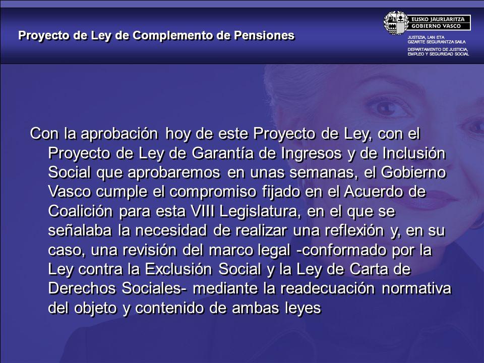 Proyecto de Ley de Complemento de Pensiones JUSTIZIA, LAN ETA GIZARTE SEGURANTZA SAILA DEPARTAMENTO DE JUSTICIA, EMPLEO Y SEGURIDAD SOCIAL Con la apro