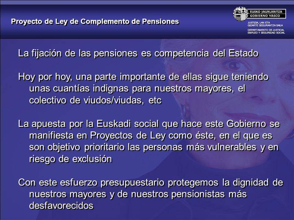 Proyecto de Ley de Complemento de Pensiones JUSTIZIA, LAN ETA GIZARTE SEGURANTZA SAILA DEPARTAMENTO DE JUSTICIA, EMPLEO Y SEGURIDAD SOCIAL La fijación