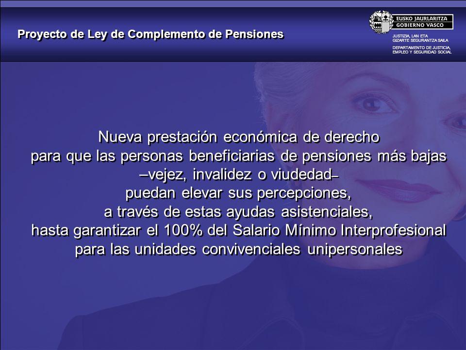 Proyecto de Ley de Complemento de Pensiones JUSTIZIA, LAN ETA GIZARTE SEGURANTZA SAILA DEPARTAMENTO DE JUSTICIA, EMPLEO Y SEGURIDAD SOCIAL Nueva prest