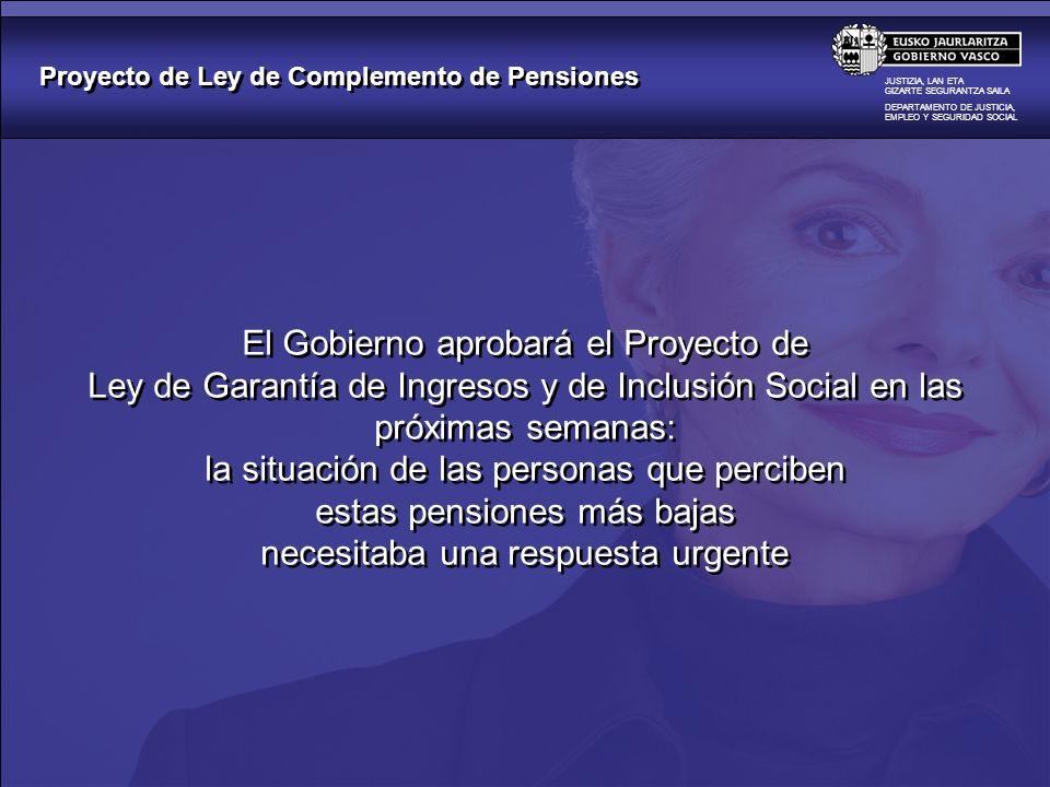 Proyecto de Ley de Complemento de Pensiones JUSTIZIA, LAN ETA GIZARTE SEGURANTZA SAILA DEPARTAMENTO DE JUSTICIA, EMPLEO Y SEGURIDAD SOCIAL El Gobierno