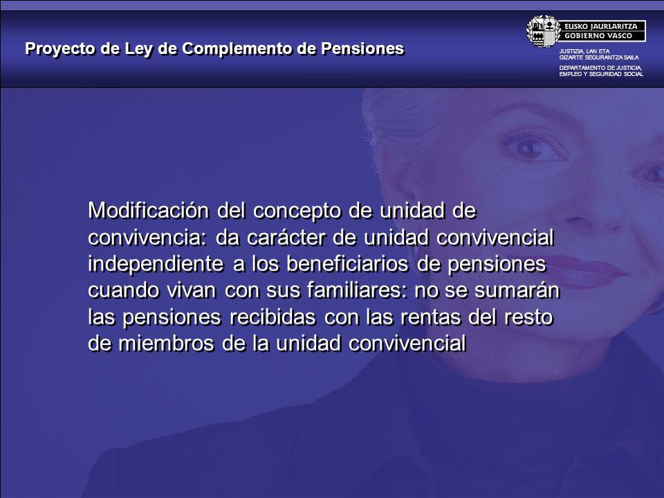 Proyecto de Ley de Complemento de Pensiones JUSTIZIA, LAN ETA GIZARTE SEGURANTZA SAILA DEPARTAMENTO DE JUSTICIA, EMPLEO Y SEGURIDAD SOCIAL Beneficiará a 7.527 perceptores pensionistas de Renta Básica Aumento de la cuantía de la ayuda en 84 mensuales de media Renta Básica: de 616 a 700 mensuales por 12 pagas 1.000 más al año como media 7,59 millones anuales Beneficiará a 7.527 perceptores pensionistas de Renta Básica Aumento de la cuantía de la ayuda en 84 mensuales de media Renta Básica: de 616 a 700 mensuales por 12 pagas 1.000 más al año como media 7,59 millones anuales