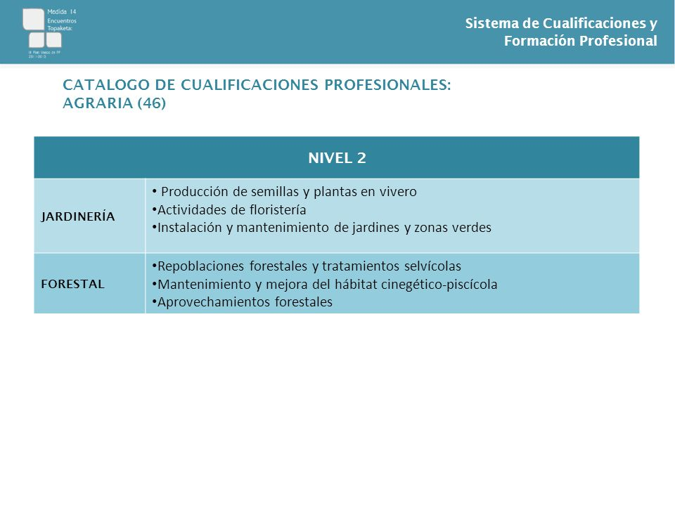 Sistema de Cualificaciones y Formación Profesional NIVEL 2 JARDINERÍA Producción de semillas y plantas en vivero Actividades de floristería Instalació