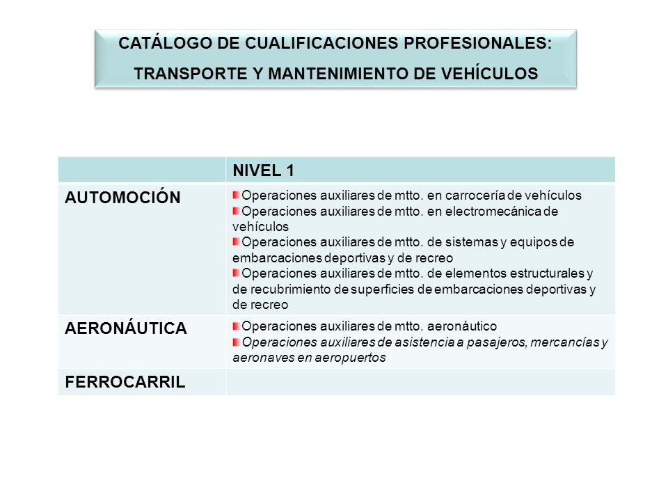 NIVEL 1 AUTOMOCIÓN Operaciones auxiliares de mtto.