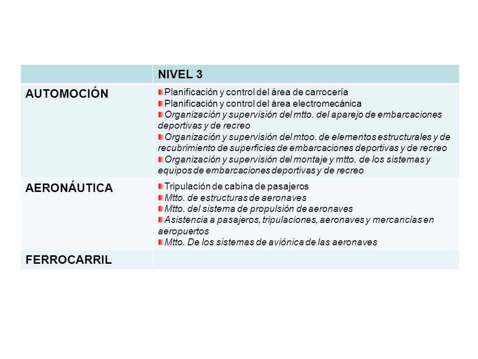 NIVEL 3 AUTOMOCIÓN Planificación y control del área de carrocería Planificación y control del área electromecánica Organización y supervisión del mtto.