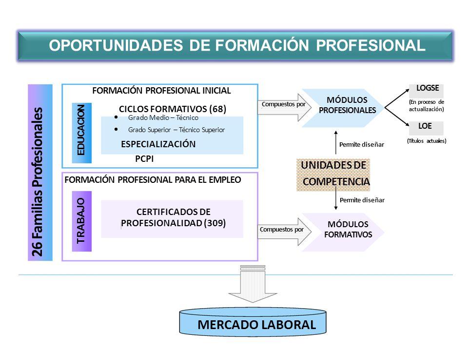 OPORTUNIDADES DE FORMACIÓN PROFESIONAL 26 Familias Profesionales FORMACIÓN PROFESIONAL PARA EL EMPLEO EDUCACION TRABAJO FORMACIÓN PROFESIONAL INICIAL CICLOS FORMATIVOS (68) CERTIFICADOS DE PROFESIONALIDAD (309) Grado Medio – Técnico Grado Superior – Técnico Superior MERCADO LABORAL Compuestos por UNIDADES DE COMPETENCIA Permite diseñar MÓDULOS PROFESIONALES MÓDULOS FORMATIVOS (Títulos actuales) (En proceso de actualización) LOGSE LOE PCPI ESPECIALIZACIÓN