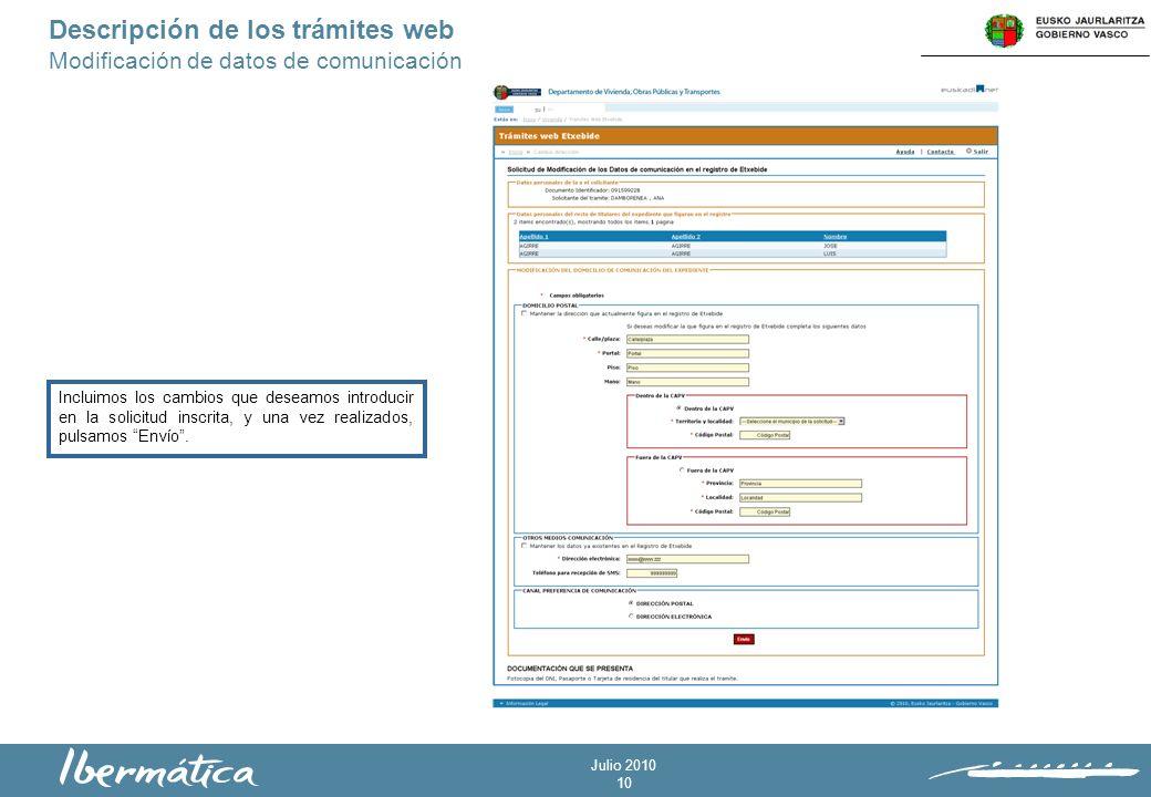 Julio 2010 10 Descripción de los trámites web Modificación de datos de comunicación Incluimos los cambios que deseamos introducir en la solicitud inscrita, y una vez realizados, pulsamos Envío.