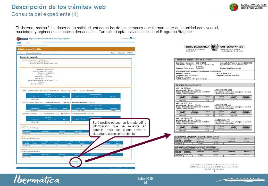 Julio 2010 15 Descripción de los trámites web Consulta del expediente (II) El sistema mostrará los datos de la solicitud, así como los de las personas que forman parte de la unidad convivencial, municipios y regímenes de acceso demandados.
