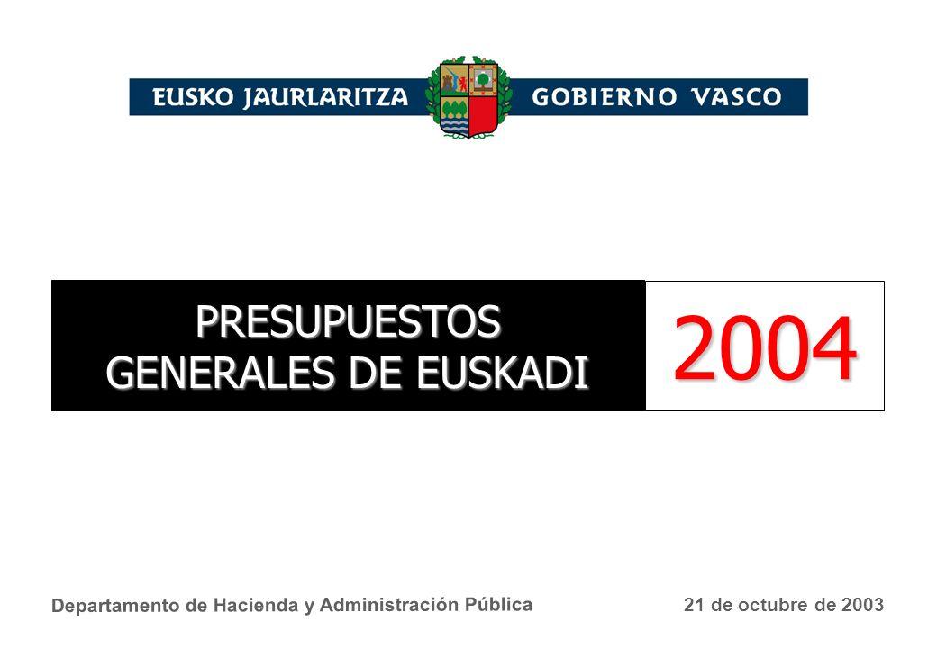 Departamento de Hacienda y Administración Pública 21 de octubre de 2003 PRESUPUESTOS GENERALES DE EUSKADI 2004