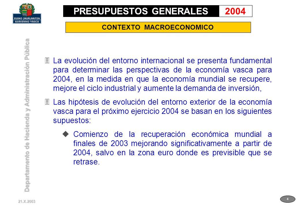 Departamento de Hacienda y Administración Pública 4 CONTEXTO MACROECONOMICO 3La evolución del entorno internacional se presenta fundamental para deter