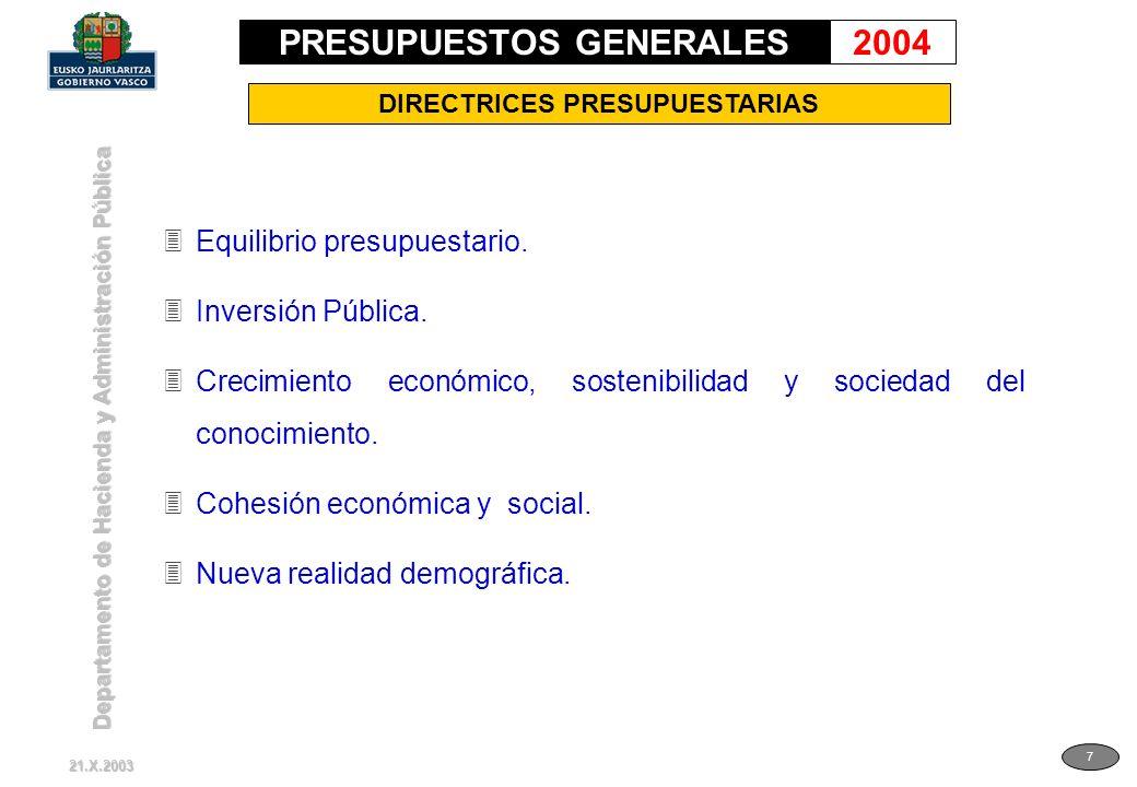 Departamento de Hacienda y Administración Pública 7 DIRECTRICES PRESUPUESTARIAS 3Equilibrio presupuestario. 3Inversión Pública. 3Crecimiento económico