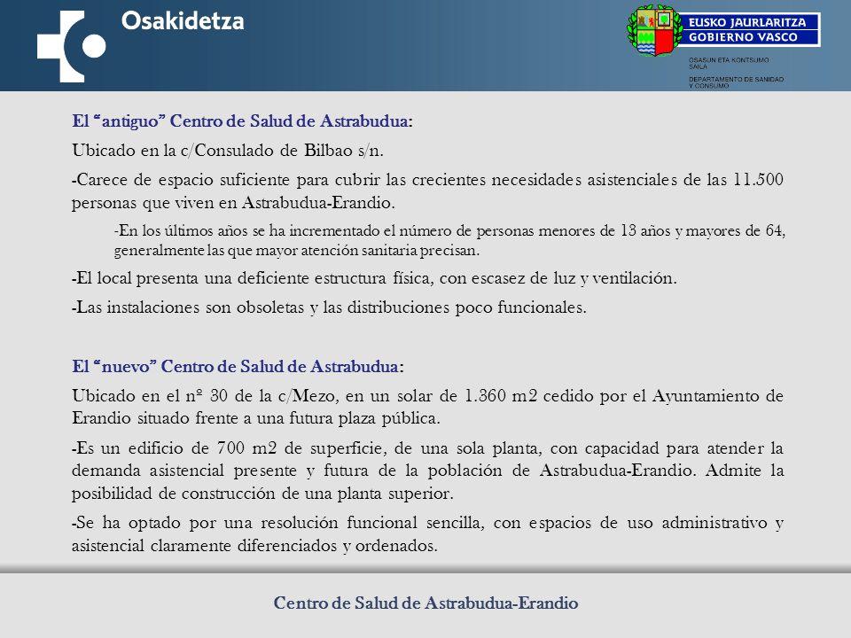 Centro de Salud de Astrabudua-Erandio El antiguo Centro de Salud de Astrabudua: Ubicado en la c/Consulado de Bilbao s/n.