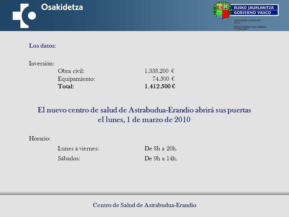 Centro de Salud de Astrabudua-Erandio Los datos: Inversión: Obra civil:1.338.200 Equipamiento: 74.500 Total:1.412.500 El nuevo centro de salud de Astrabudua-Erandio abrirá sus puertas el lunes, 1 de marzo de 2010 Horario: Lunes a viernes:De 8h a 20h.