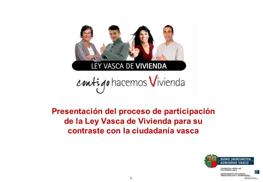 1 Presentación del proceso de participación de la Ley Vasca de Vivienda para su contraste con la ciudadanía vasca