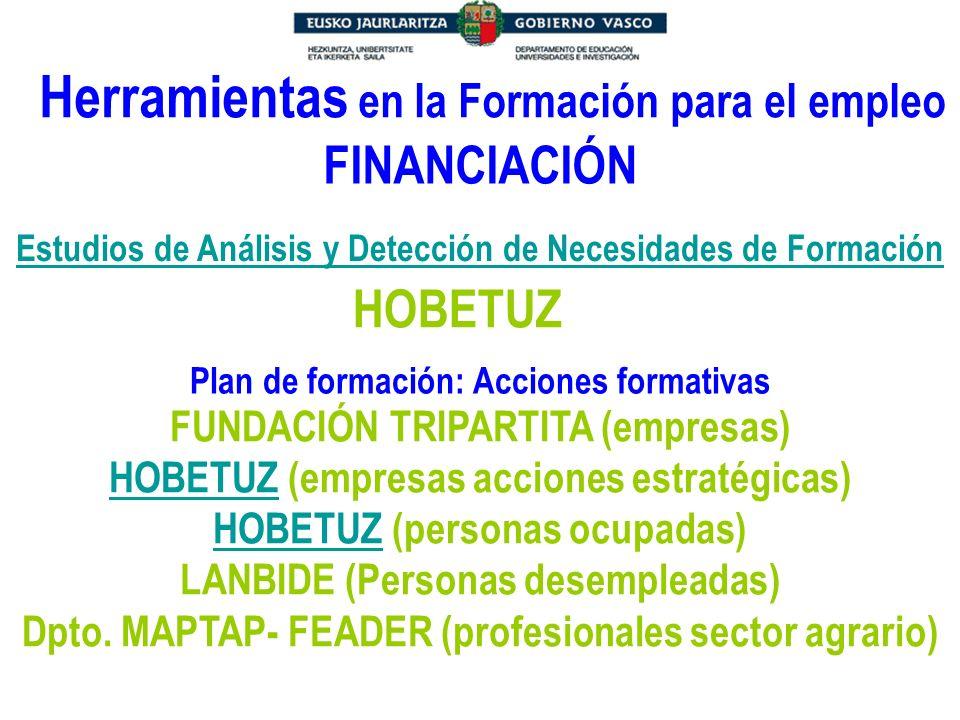 Herramientas en la Formación para el empleo Estudios de Análisis y Detección de Necesidades de Formación Plan de formación: Acciones formativas FINANC