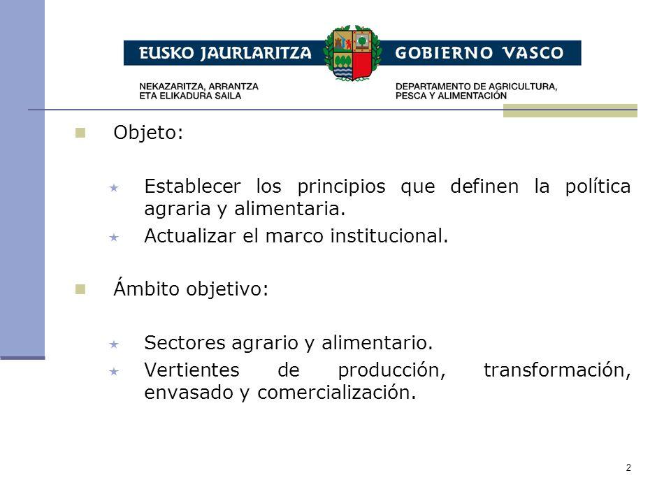 2 Objeto: Establecer los principios que definen la política agraria y alimentaria.