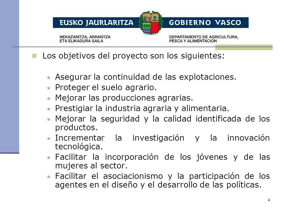4 Los objetivos del proyecto son los siguientes: Asegurar la continuidad de las explotaciones.