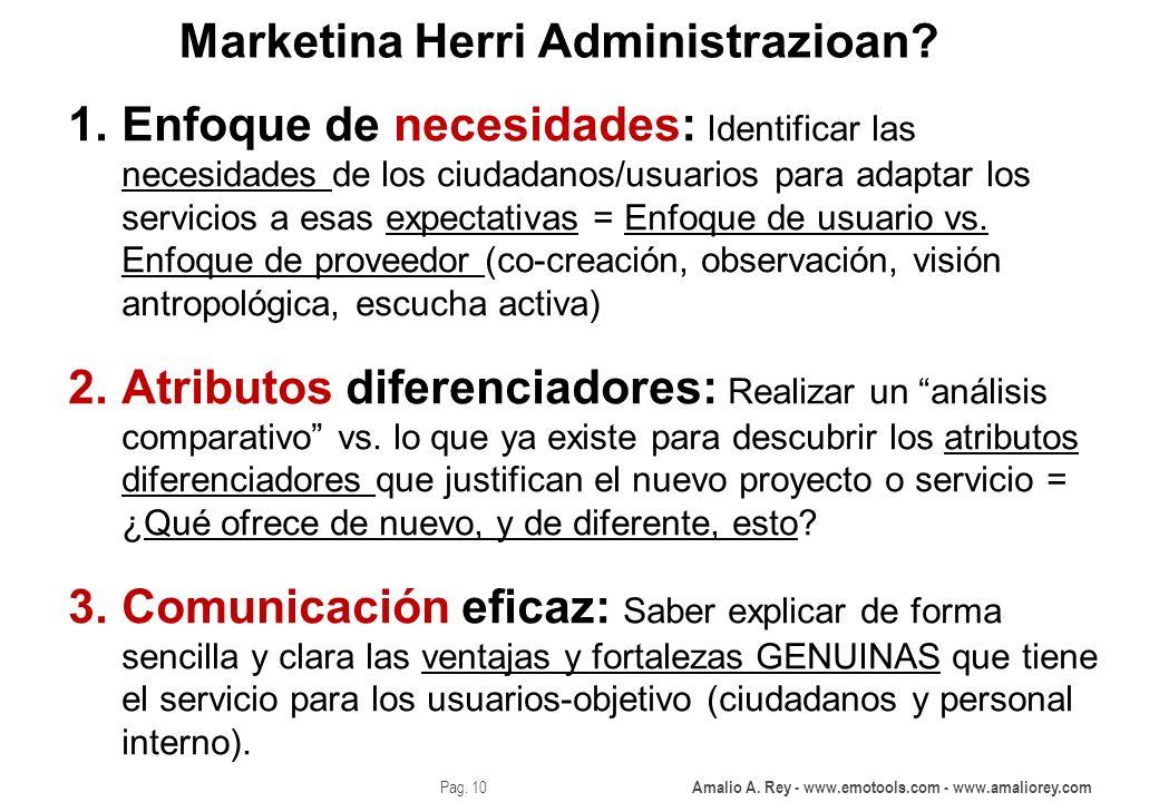 Amalio A. Rey - www.emotools.com - www.amaliorey.com Pag. 10 Marketina Herri Administrazioan? 1.Enfoque de necesidades: Identificar las necesidades de