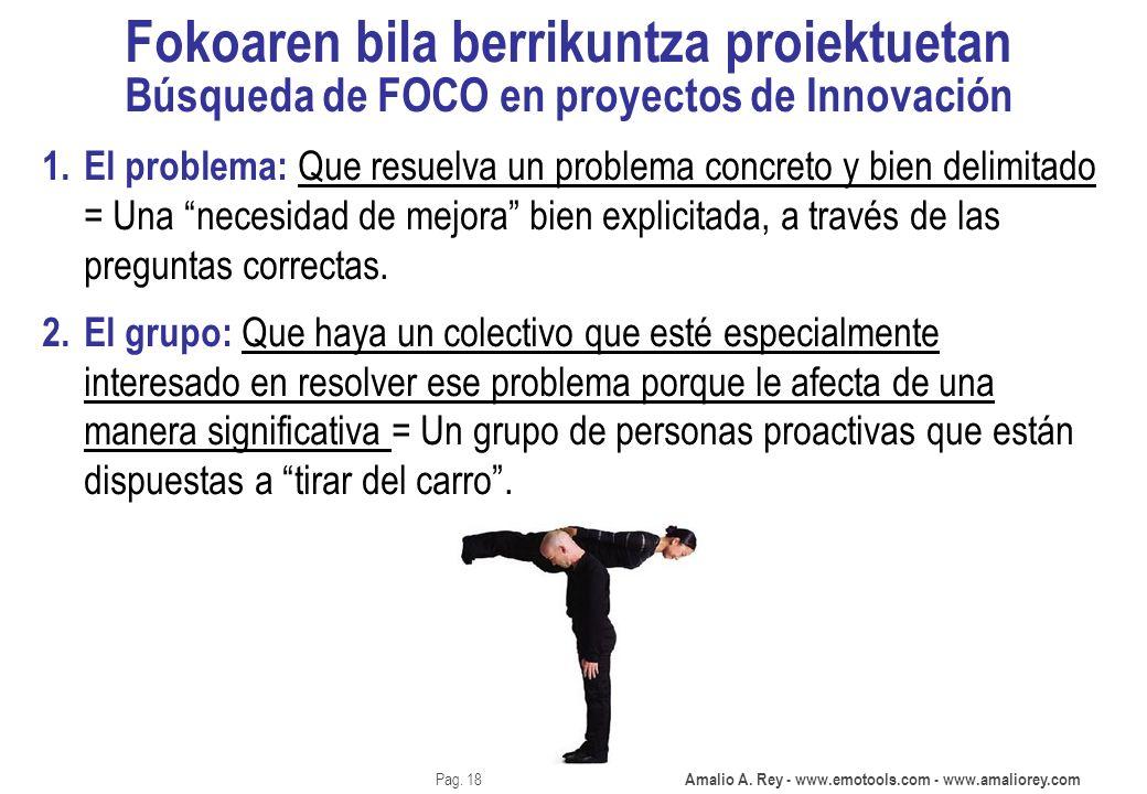 Amalio A. Rey - www.emotools.com - www.amaliorey.com Pag. 18 Fokoaren bila berrikuntza proiektuetan Búsqueda de FOCO en proyectos de Innovación 1. El