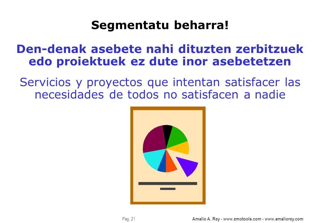 Amalio A. Rey - www.emotools.com - www.amaliorey.com Pag. 21 Segmentatu beharra! Den-denak asebete nahi dituzten zerbitzuek edo proiektuek ez dute ino