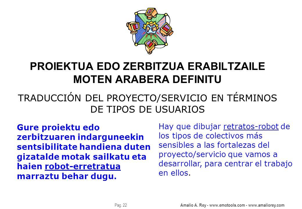 Amalio A. Rey - www.emotools.com - www.amaliorey.com Pag. 22 PROIEKTUA EDO ZERBITZUA ERABILTZAILE MOTEN ARABERA DEFINITU TRADUCCIÓN DEL PROYECTO/SERVI