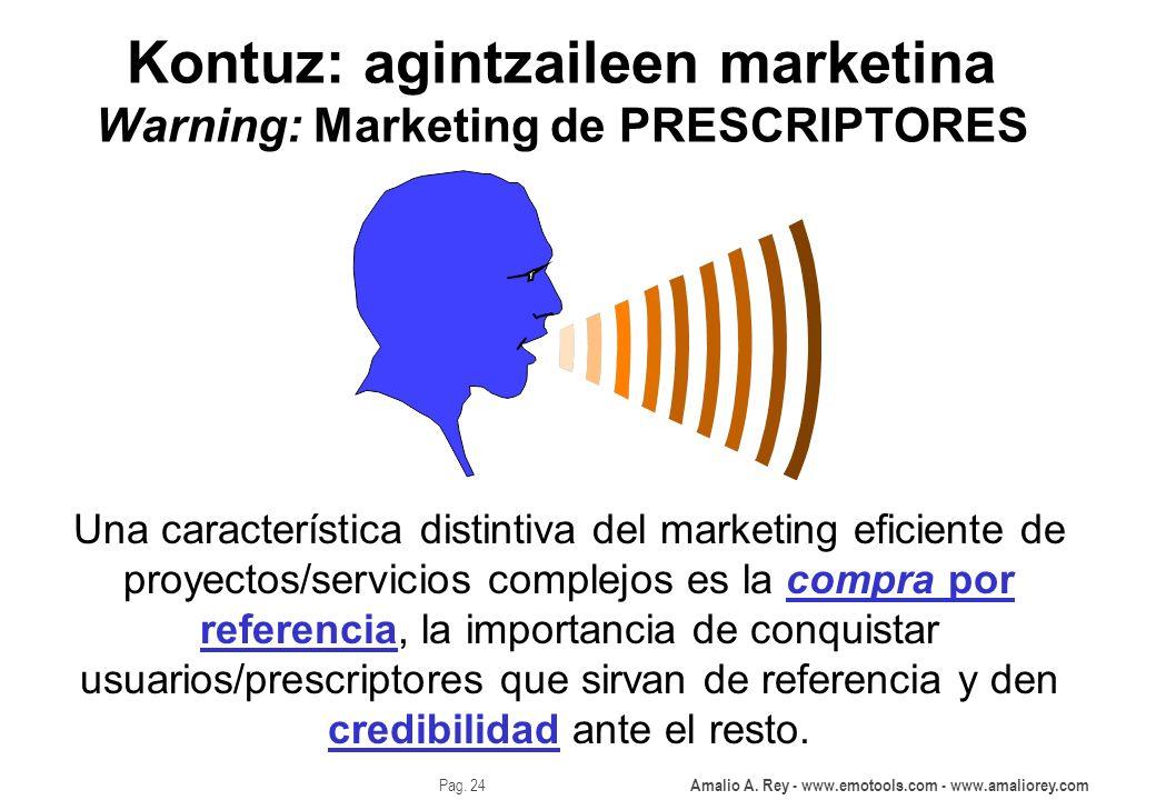 Amalio A. Rey - www.emotools.com - www.amaliorey.com Pag. 24 Kontuz: agintzaileen marketina Warning: Marketing de PRESCRIPTORES Una característica dis